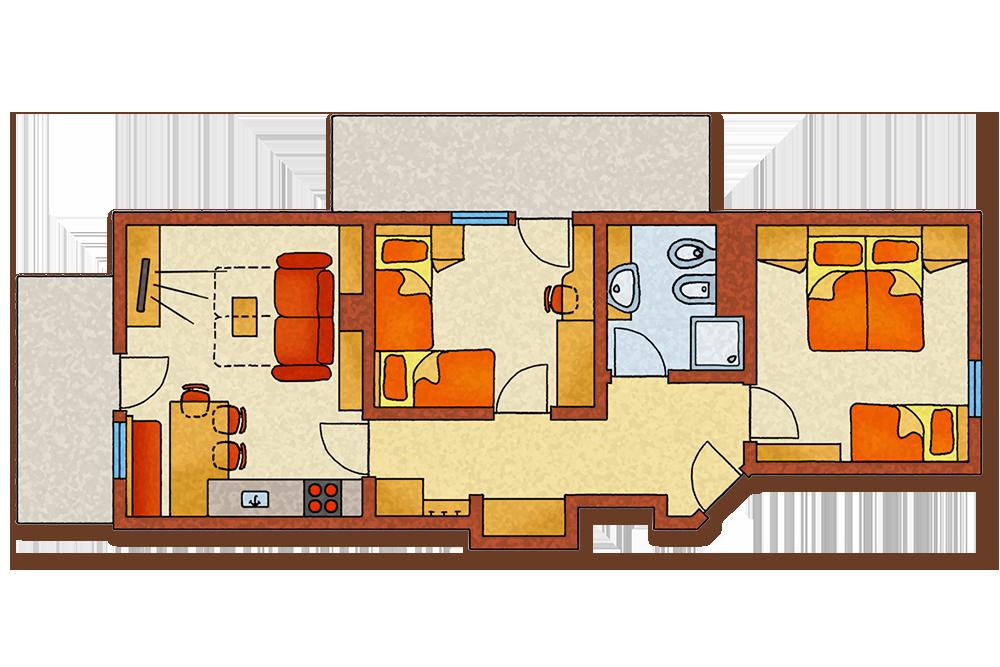 skizze-appartement-abendrot-bauernhof-appartamento-vacanze-agriturismo